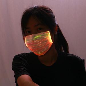 LED Máscara 7 Cores acende luz recarregável 4 Modo de flash USB até Máscara unisex festa de Natal Festival Masquerade brilham no escuro máscara