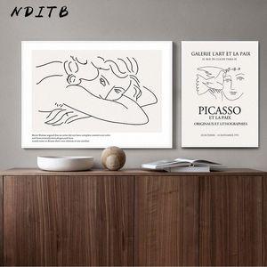 Picasso Matisse Art Dessin au trait Poster Résumé Minimaliste Wall Art TOILE célèbre peinture décorative Image Moder bxex #
