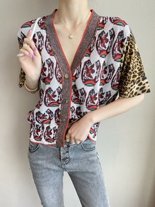 712 2020 Free Shipping Autumn Brand Same Style Sweater Cardigan V Neck Short Sleeve Fashion Womens Clothes QIAN