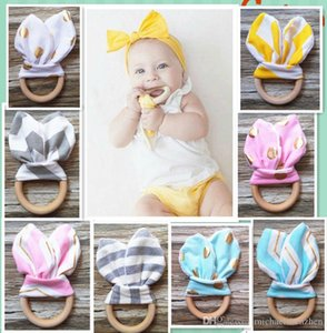 28 Colors Baby INS Teethers Natural Wood Circle With Rabbit Ear Fabric Newborn Teeth Practice Toy Training Handmade Ring B001