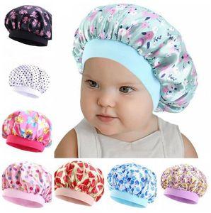 Nette Kinder Satin Bonnet Sleeping Caps New Soft Silk Wide Band Nachtmütze für natürliche Haar Teens Kleinkind Kind Baby-Großhandel