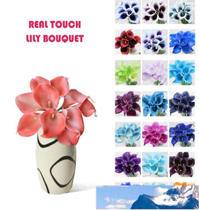 Wholesale 50pcs MOQ Real Touch Simulation Flower Bouquets Artificial Calla Lily for Bridal and Home Decoration
