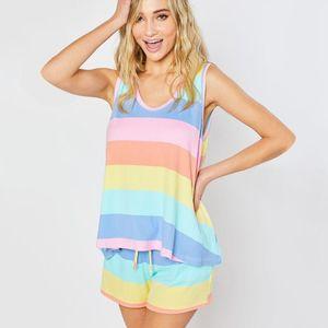 Womens Rainbow Stripes Short Sleeve Pajama Set Night Lounge Top Short Sleepwear Ladies Girls Plus Size Pajama Home Wear S-5XL
