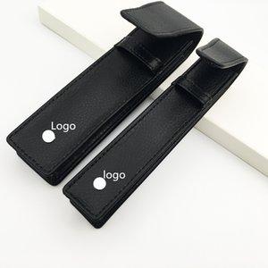 Luxo M pen bolsa para esferográfica / fonte / Rollerball 163 caneta boa qualidade caixa de lápis sacos de presente preta com estrelas brancas de couro Artificial