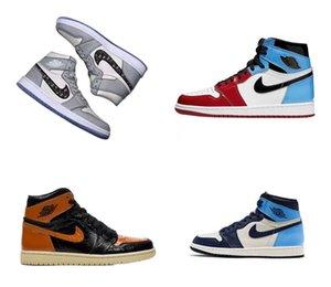 2020 topretro NakeskinJordanAJ1 Aj 1 air quality Sneakers men women fly Basketball sneakers chaussures Shattered Ba