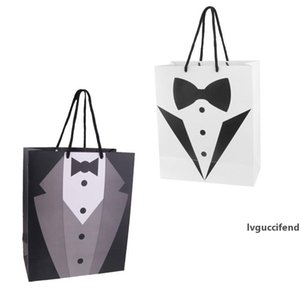 Paper Tuxedo Bag Wedding Groomsmen Tuxedo Gift Favor Bag Father Lover Gentlemen Gift Package Tote Bag