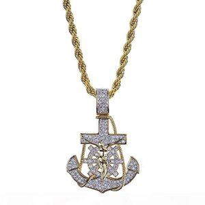 A A 2020 Gold Plated Iced Out Cublic Zirconia Vintage Anchor Pendant Necklace Twist Chain 2 Colors Hip Hop Punkrock Jewelry Gifts For G