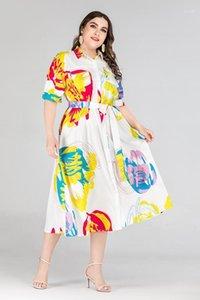 Bayan Giyim Kısaca Kadınlar Tasarımcı Gömlek Elbise Yaz Casual Flora Baskılı Elbiseler Yarım Kol A Hattı
