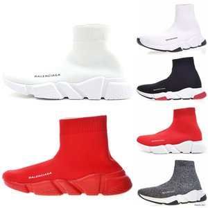 2020 New High Quality Speed Trainer Men Women Sneakers Black White Blue Platform Trainers Casual Sock shoes Runner blue red sh