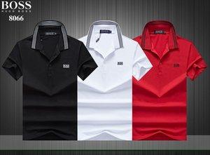 новые боссы высокого качества PolosShirt Гий Мужчина Твердых хлопки шорты Polos летний повседневный польос Homme футболки мужские рубашки поло Poloshirt 8066