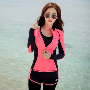 Rhyme Lady Long Sleeve Rash Guard Swimwear female four Pieces beach Swimsuit Sun Protection Rashguard Swimming Suit For Women T200708