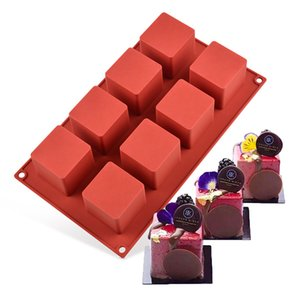 8 grid square French dessert mold DIY chocolate cake pudding silicone mold baking fudge cake decoration tool T200703