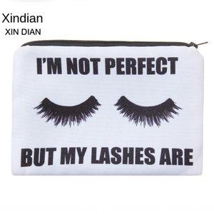 New 3D eyelash printed square cosmetic cosmetic storage hand women's storage bag multi-function pen bag