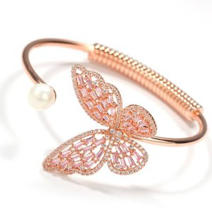New fashion real gold plated womens colorful cubic zirconia butterfly open cuff bangle bracelet bling diamond jewelry gifts for women girls