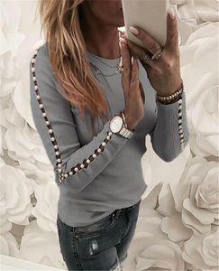 Bahar İnce Bayan Casual Tee Tasarımcı Bayan İnci Patchwork Tshirts Moda Hollow Out Uzun Kollu Bayan Ey Boyun Üst