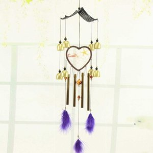 1pc Wind Chimes oco tubo de metal sinos de vento com Heart Shaped Dream Catcher Home Decor LXY9 D2cO #