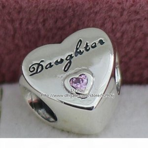 A 2015 New 925 Sterling Silver Daughter &#039 ;S Love Charm Pendant Bead With Pink Cz Fits European Pandora Style Jewelry Bracelets &Ne