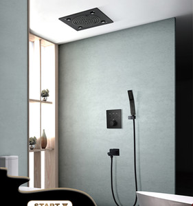 320 x 320mm recessed ceiling rainfall mist shower set led bathroom shower thermostatic 3 way mixing valve black surface
