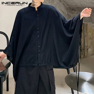 INCERUN Men Shirt Cloak Cape 2020 Solid Color Stand Collar Drawstring Button Casual Tops Fashion Loose Chic Streetwear Camisas 7