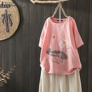 ZANZEA Summer Printed Tunic Tops Women Short Sleeve Blouse Casual Cotton Linen Shirts Robe Femme Plus Size Top Blusas Femininas Y200622