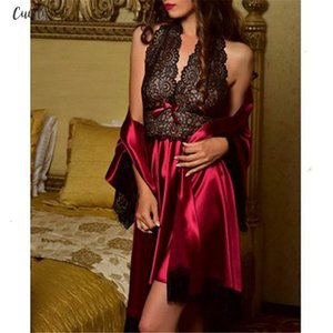 Spring 2020 New Bathrobe Nightdress Two Pieces Set Lace Patchwork Casual Loose Solid Women Ladies Polyester Satin Silk Nightdress