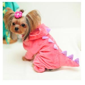 Dog SEIS Dinosaur Suit Halloween Costume Cat Pet Dino Hoodie para Pequenas e Médias Cães Inverno do Agasalho