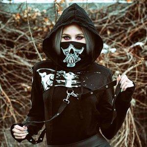 New street personality skull print ribbon super short hooded vest elastic goddess mask gas jacket mask