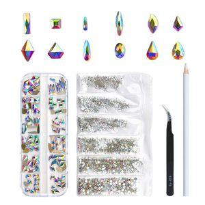 120 PCS Multi Formes Verre Crystal de verre AB Strass pour Nail Art Craft, Mélange 12 Cristaux Flatback 3D Décorations 3D Pierres à dos plates