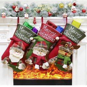 Paño colgante de caramelo bolsa de Navidad de la gran chimenea Decoración Mercado delicado partido de los ornamentos Tienda árbol de Navidad