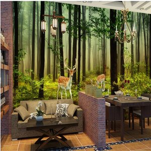 Custom new Forest landscape wallpapers background wall decoration painting 3d landscape wallpaper