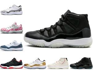 2020 avec la boîte de qualité supérieure 11s chapeau et robe Chicago Platinum Snakeskin Hommes Basketball Chaussures 45 PinkCherry Emeraude 11 femmes sport Chaussures de sport