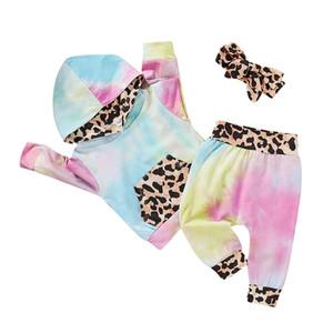 Bébés filles Tie Dye Vêtements Ensembles à manches longues Leopard Haut à capuche + Pantalons + Bandeaux 3pcs / set Costume Automne Boutique Vêtements enfants Ensembles M2361