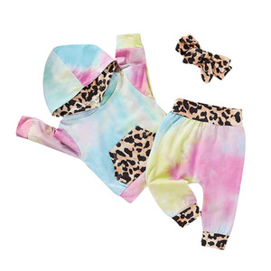 Bebés Meninas Tie Dye Vestuário Define Long Sleeve Leopard com capuz Top + Calças + Headbands 3pcs / set terno Outono Boutique Kids Clothing Define M2361