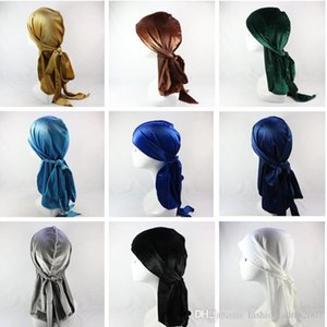 Velvet Premium Durag Bandana (17 colori) 360 Waves extra cappelli cinghie lunghe Durags pirata per gli uomini Copricapo fascia