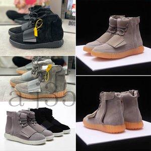 2020 Kanye West 750 SneakersyezzyyezzysRunner Light Brown Grey Gum Triple Black High Men Running Shoes Best Athlet