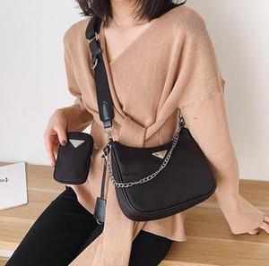Prada 2020 mais novo do vintage Estilo Nylon Mulit saco preto Bolsa Crossbody Shoulder Bag Halt Lua Baguette Hobo Bag com caixa