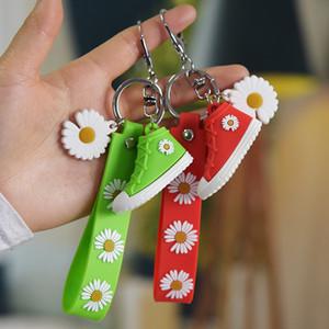 6 cores Mulheres Moda Chaveiros PVC borracha macia Keychain Daisy Shoes titular da chave para Titular Bag Handbag Pendant Key