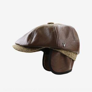 Yangguan PU leather season new beret Octagonal octagonal hat hat middle-aged old man beret