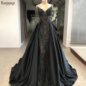 Long Evening Dress 2020 New Arrival Mermaid V-neck Gorgeous Lace Long Train Black Formal Arabic Evening Gown robe de soiree Y190710