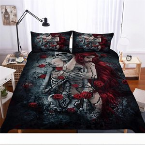 Bonenjoy Sugar Skull Bedding Set Queen Size Flower Skull Bed Linen Double Duvet Cover with Pillowcase King Size Bedding