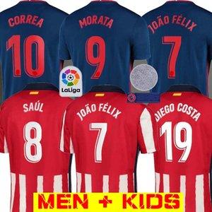 20 21 Atletico Madrid Fußball Trikots JOAO FELIX 2020 2021 SAUL T-Shirt de fútbol MORATA Herren Jersey Kinder-Kit DIEGO COSTA Fußball-Hemd