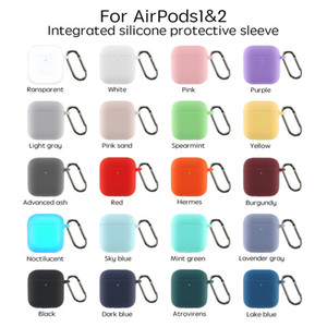 Candy Silicone Case For Airpods Protector Case Anti-lost Hook Earbuds Shockproof Protective Case bluetooth earphone Pouch