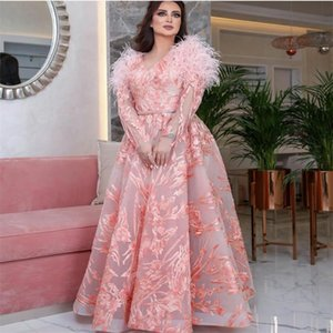 Pink Elegant A-line Evening Dresses V-neck Long Sleeve Sheer Appliqued Feather Formal Bridal Gown Sweep Train Custom Made Party Gown