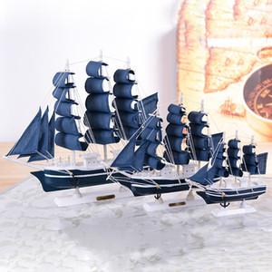 Artisanat en bois de style méditerranéen Lissez Bateau à voile Figurines bleu Voilier ornements miniatures Accueil PC de bureau Décor cadeau T200617