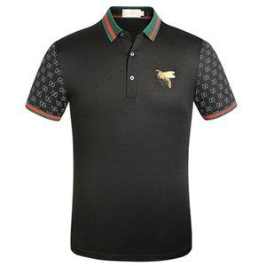 G 고전적인 디자이너 자수 짧은 소매 고급스러운 옷깃 T 셔츠 남성 셔츠 구찌 통기성 구찌 패션 티 탑