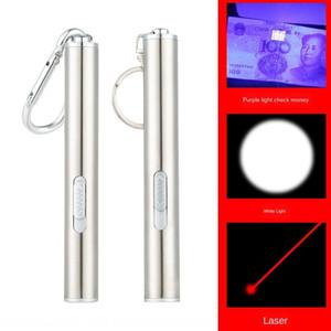 Três-em-um de aço inoxidável pequena lua ing flash flashlight laser infravermelho 395nm roxo detector dinheiro luz