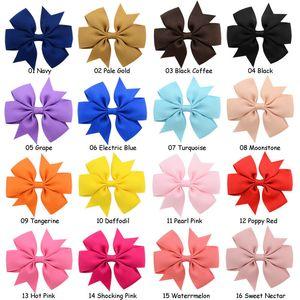 Cute Baby Girls Hair Bowknot Solid Color Hairpins Grosgrain Whorl Barrettes Bowknot Hair Clip Kids Boutique Headwear Hair Accessories Gifts