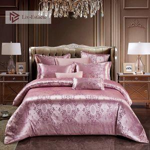 Liv Esthete New Luxury Bedding Set Euro Jacquard Palace Double Adult Bedspread Flat Sheet Decorative Bed Linen Set Home Textiles