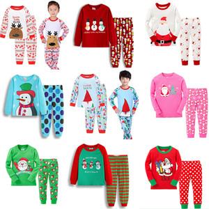 Pyjama Noël d'enfants Ensemble Survêtement pyjama costume de Père Noël Tenues Pyjama costumes Ensembles bébé imprimé Cerfs Accueil Vêtements 35 Styles