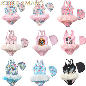 Ins dei bambini del costume da bagno del fumetto della ragazza di un pezzo floreale Cute Baby Swimwear balletto garza gonna piccola principessa costume da bagno YBD001